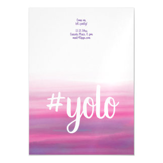 yolo watercolor motivational party invitations