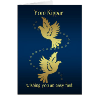 Yom Kippur - Gold Effect Doves Card
