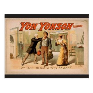 Yon Yonson, 'ay tank yo gat wrong Fallar' Retro Th Postcards