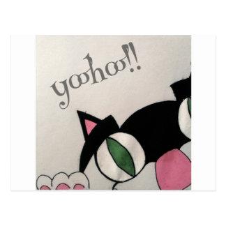 Yoohoo. Cute cat design. Postcard