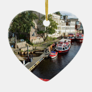 York City Guildhall and red boats Ceramic Heart Decoration