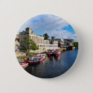 York Guildhall and river Ouse 6 Cm Round Badge