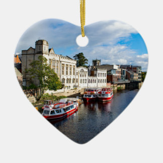 York Guildhall and river Ouse Ceramic Heart Decoration