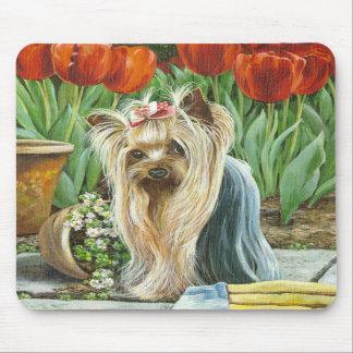 Yorkie and Tulips Art Print Mousepad Original