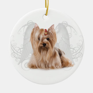 Yorkie Angel Ceramic Ornament
