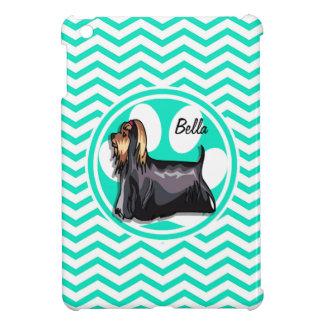 Yorkie; Aqua Green Chevron Cover For The iPad Mini