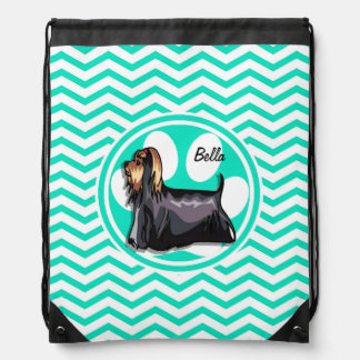 Yorkie; Aqua Green Chevron Drawstring Bag