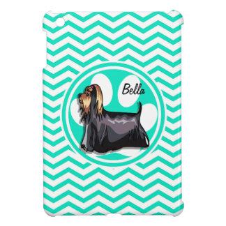 Yorkie; Aqua Green Chevron iPad Mini Cases