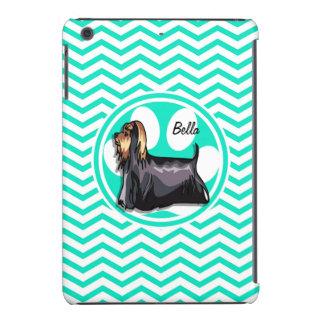 Yorkie; Aqua Green Chevron iPad Mini Cover