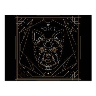 Yorkie Art Deco Zodiac Postcard