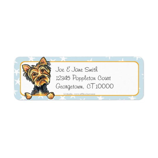 Yorkie by the Beach Starfish Return Address Label