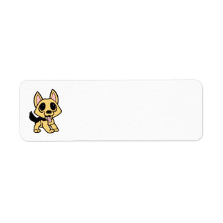 yorkie cartoon tan and blackk return address label