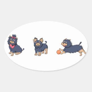 yorkie cartoons 2 oval sticker