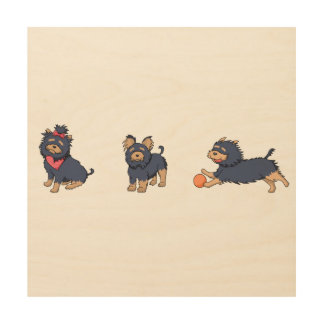 yorkie cartoons 2 wood wall art