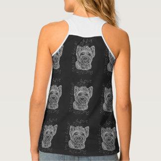 Yorkie Chalk Dog Animal Art Shirt
