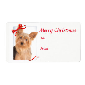 Yorkie Christmas Gift Stickers Shipping Label