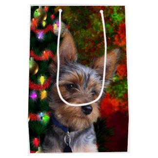 Yorkie Christmas Medium Gift Bag