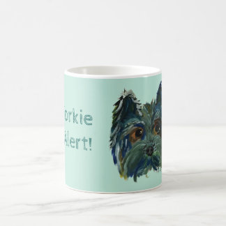 Yorkie Cute Puppy Painting in Blue and Green Coffee Mug