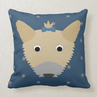 Yorkie Dog on Dots Throw Pillow