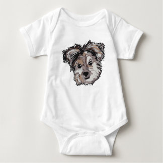 Yorkie Dog Pup Face Sketch Baby Bodysuit