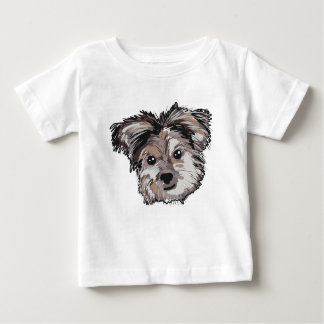 Yorkie Dog Pup Face Sketch Baby T-Shirt