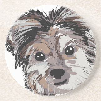 Yorkie Dog Pup Face Sketch Beverage Coaster