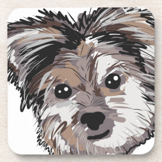 Yorkie Dog Pup Face Sketch Beverage Coasters