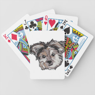 Yorkie Dog Pup Face Sketch Bicycle Playing Cards