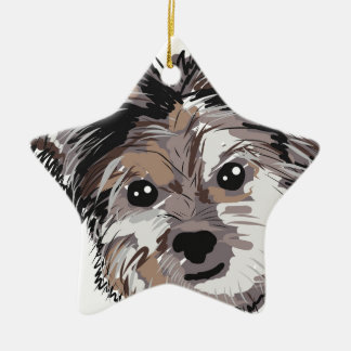 Yorkie Dog Pup Face Sketch Ceramic Ornament