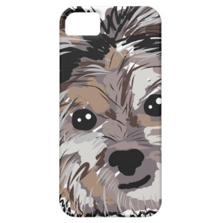 Yorkie Dog Pup Face Sketch iPhone 5 Cases