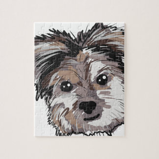 Yorkie Dog Pup Face Sketch Jigsaw Puzzle