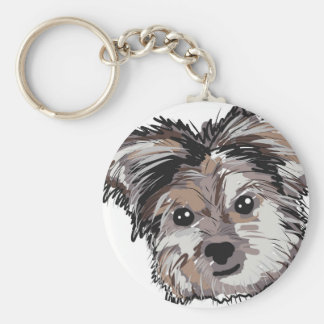 Yorkie Dog Pup Face Sketch Key Ring