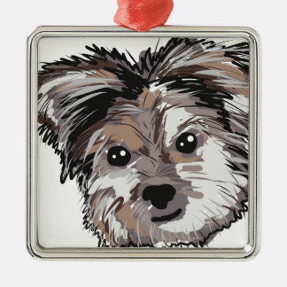 Yorkie Dog Pup Face Sketch Metal Ornament
