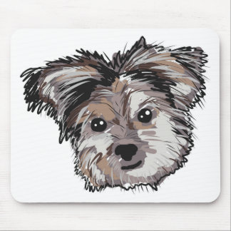 Yorkie Dog Pup Face Sketch Mouse Pad