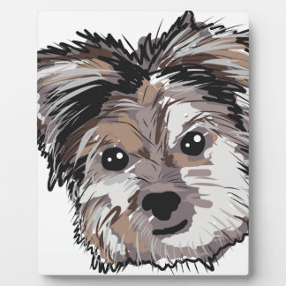 Yorkie Dog Pup Face Sketch Photo Plaque