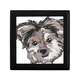 Yorkie Dog Pup Face Sketch Small Square Gift Box