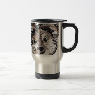 Yorkie Dog Pup Face Sketch Travel Mug
