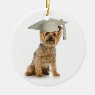 Yorkie Dog with Graduation Hat Ornaments