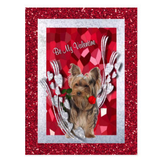Yorkie Female Puppy Be My Valentine Postcard