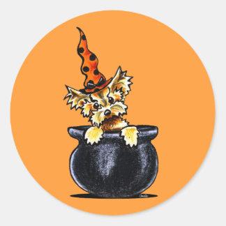 Yorkie Halloween Good Witch Off-Leash Art™ Classic Round Sticker