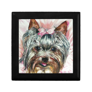 Yorkie in Pink Small Square Gift Box