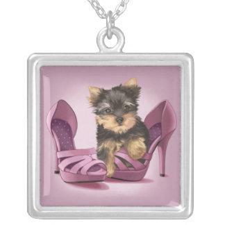 Yorkie in Shoe Silver Plated Necklace