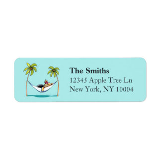 Yorkie Island Princess Off-Leash Art™ Aqua Return Address Label