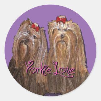 Yorkie Love Collection Classic Round Sticker