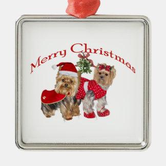 Yorkie Merry Christmas Metal Ornament