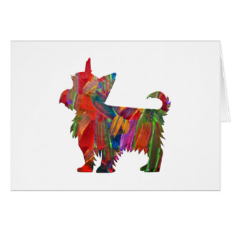 Yorkie Multi Colored Painted Dog Silhouette Card