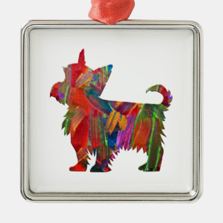 Yorkie Multi Colored Painted Dog Silhouette Metal Ornament