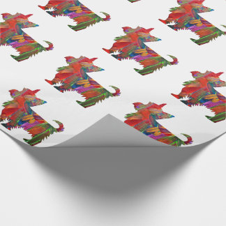 Yorkie Multi Colored Painted Dog Silhouette Wrapping Paper