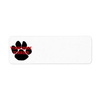 yorkie name paw return address label