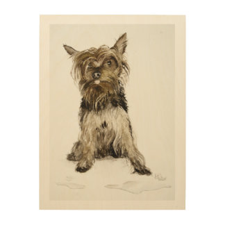 Yorkie Painting Wood Wall Art